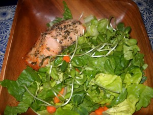 salad with a side of salmon