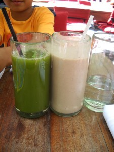 green juice and milk shake